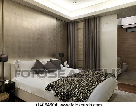 hippe slaapkamer met gouden muur