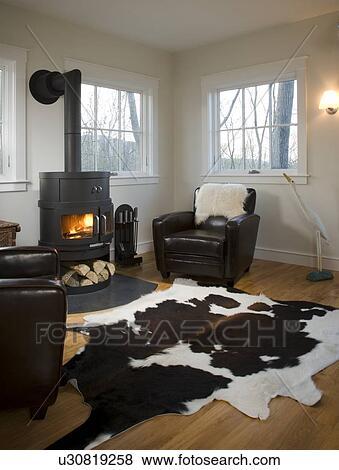 Beelden - woonkamer, met, hout, brandende, kachels, en, dier huid ...