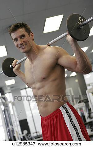 Bild - anfall, männlich, trainieren, in, sportraum, mit, heraus, a ...