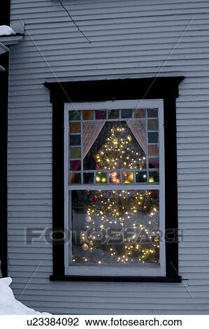 View Through A Window Of A Christmas Tree Lit Up With Lights