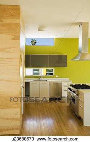 Archivio Fotografico - moderno, cucina, con, parete verde u23688673 ...