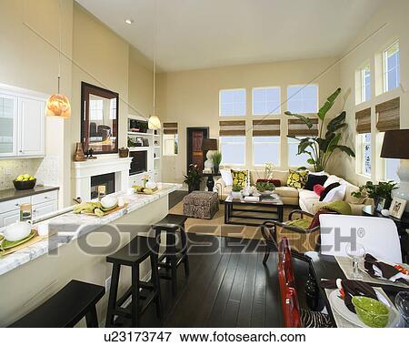 Cucina, sala da pranzo, e, soggiorno Archivio Fotografico ...