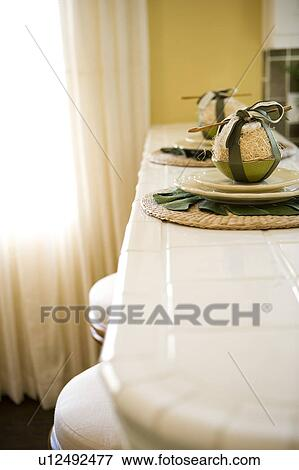 Place Settings On Kitchen Bar