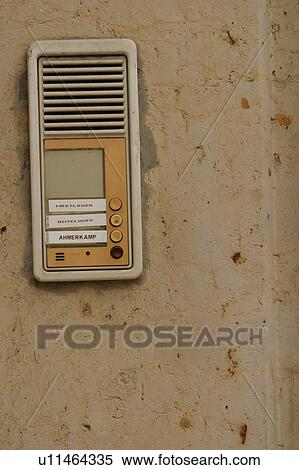 Stock Photography Buzzer Apartment Speaker Ons Names Fotosearch