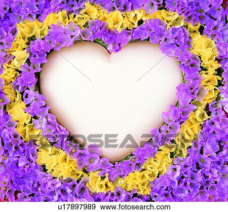 Stock Photograph of love, flower, heart-shaped, frame, purple ...