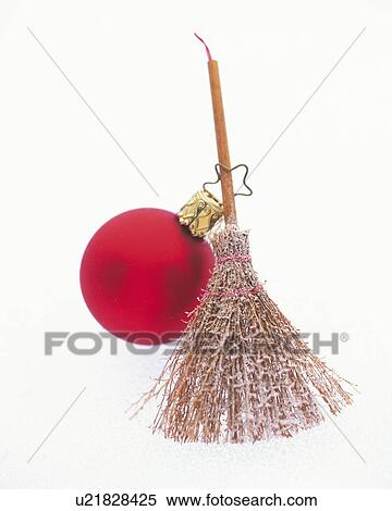 christmas ornament of broom and red ball front view close up - Christmas Broom Decoration