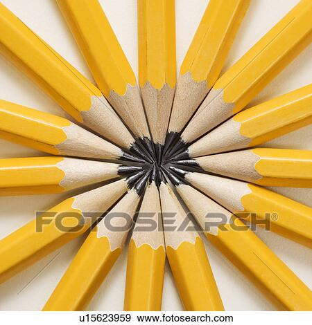stock photograph of sharp pencils arranged in a symmetrical radial