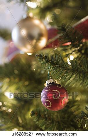 Close Up Of Gold And Red Ornaments Hanging In Christmas Tree Stock Photo
