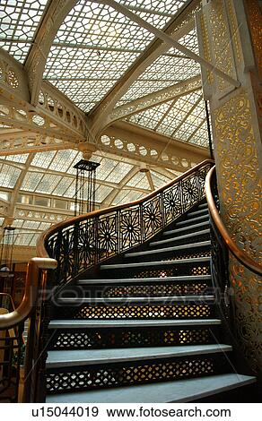 Beau A Ornate Staircase In Rockery Building