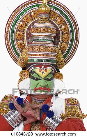 Close-up of a Kathakali dance performer Stock Photo