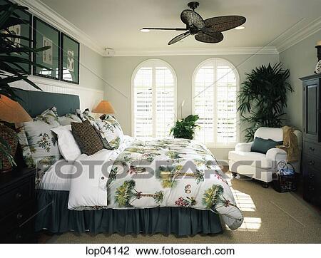 Confortable, plage, style, chambre à coucher, à, ventilateur plafond Banque  d\'Image
