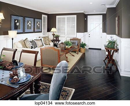 Archivio Fotografico - confortevole, soggiorno, con, scuro, marrone ...