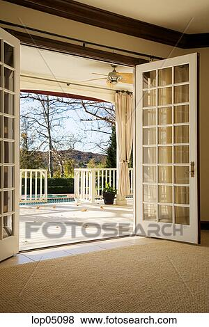 Pictures Of French Doors Open To Large Porch Lop05098 Search Stock