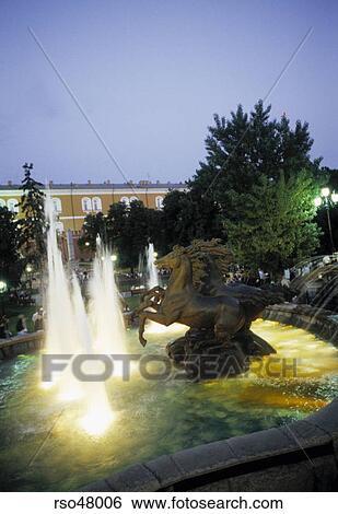 Drei Pferd Brunnen In Alexander Gärten Moskau Kreml Russland