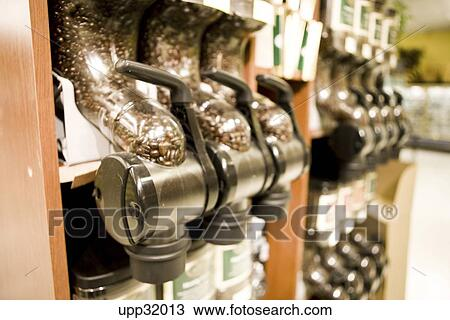stock photo of close up of coffee bean dispenser in grocery store upp32013 search stock images. Black Bedroom Furniture Sets. Home Design Ideas