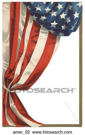 Clip Art of Frame of American Flag Motif amer_02 - Search Clipart ...