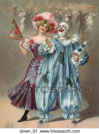 Clipart - Victorian Illustration of a Clown and a Lady . Fotosearch - Search Clip Art  sc 1 st  Fotosearch & Clipart of Victorian Illustration of a Clown and a Lady clown_01 ...