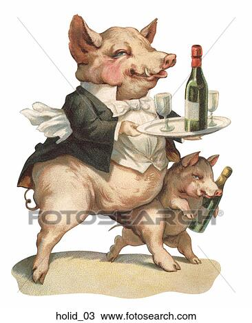 drawing victorian new year illustration a pig dressed as a waiter is serving champagne