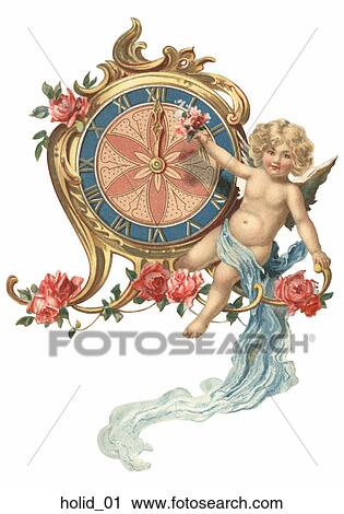 clipart vintage new year illustration of a cherub and a clock fotosearch search
