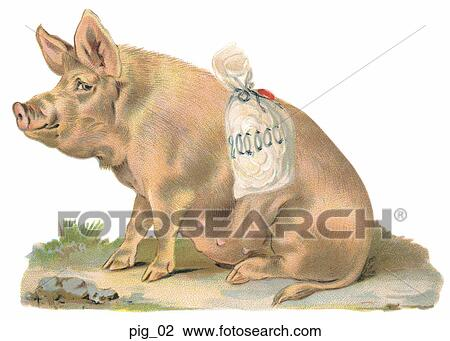 Clip Art of Victorian Die Cut Illustration of a Pig with ...