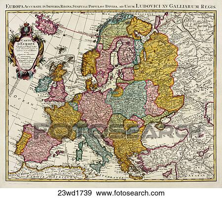 Stock Illustration of Antique Map of Europe (hand-colored copper ...