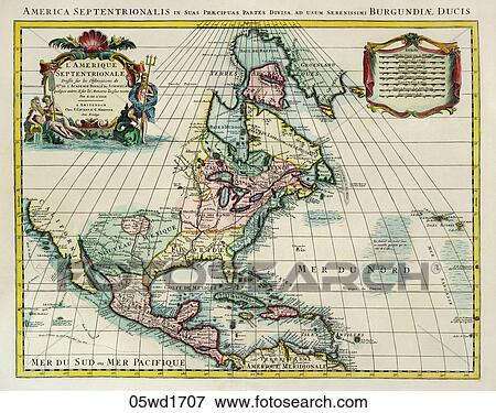 Antique Map Of North America.Antique Map Of North America Hand Colored Copper Engraving 1707