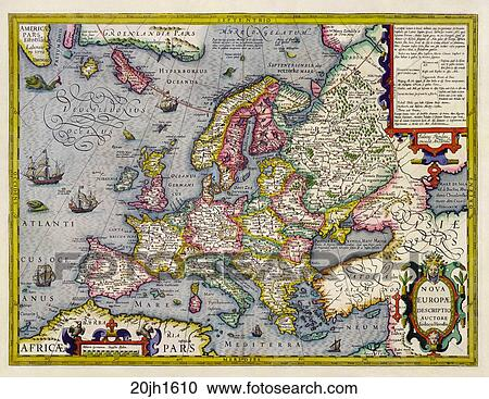 Starozytna Mapa Od Europa Hand Colored Miedz Engraving C