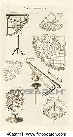骨董品 科学 イラスト Copper Engraving の 天文 道具 そして