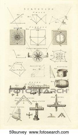 骨董品 科学 イラスト Copper Engraving 提示 様々 測量