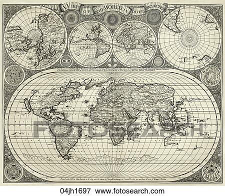 Stock Illustration Of Antique World Map Copper Engraving C - Antique world map picture