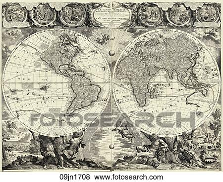 Stock illustration of antique world map copper engraving 1708 antique world map copper engraving 1708 gumiabroncs Gallery