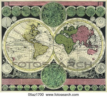 Stock Illustrations of Antique World Map (copper engraving)., c ...