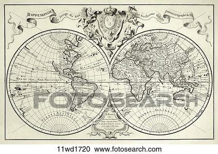 Stock Illustrations Of Antique World Map Copper Engraving - Antique world map picture