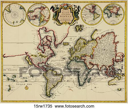 Stock illustration of antique world map hand colored copper antique world map hand colored copper engraving1735 gumiabroncs Gallery