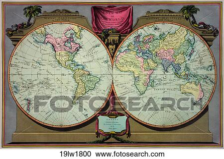 Antique World Map (hand-colored engraving)., 1800 Stock ...