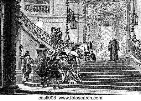 イラスト - フランス語, 宮殿, 内部, 階段. Fotosearch