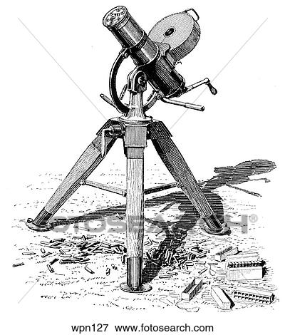 Stock Illustration Of Gatling Police Gun Wpn127