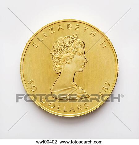 Canadian Dollar Gold Coin 50 Dollars Close Up