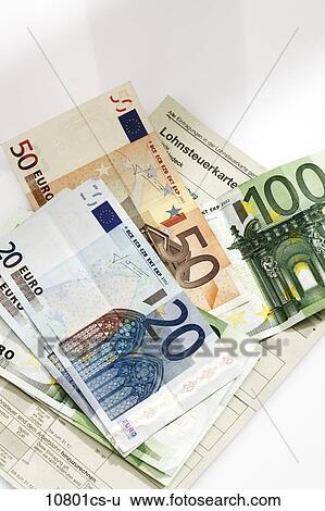 Stock Bilder Steuer Karte Euromünzen Und Euro Banknoten In