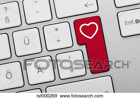 Stock Photograph Of Close Up Of Computer Keys With Heart Symbol On
