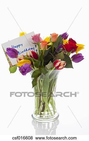 Fotos - variedad, de, flores jarrón, con, tarjeta de cumpleaños ...
