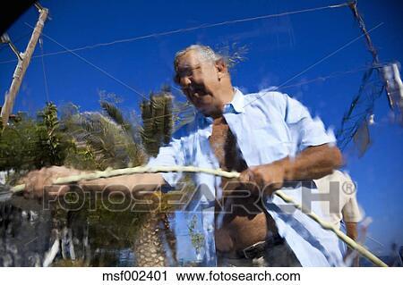 Hazır Fotoğraflar Yunanistan Crete Paleochora Yaşlı Adam Ince
