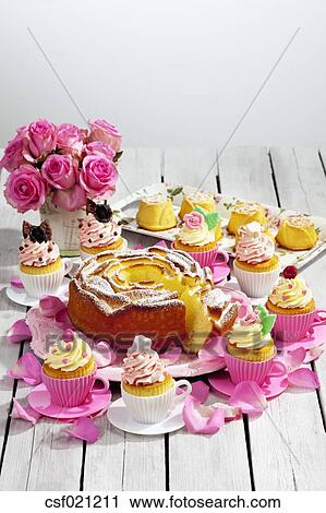 Swell Birthday Cake Cupcakes Muffins And Flower Vase Of Pink Roses On Funny Birthday Cards Online Eattedamsfinfo
