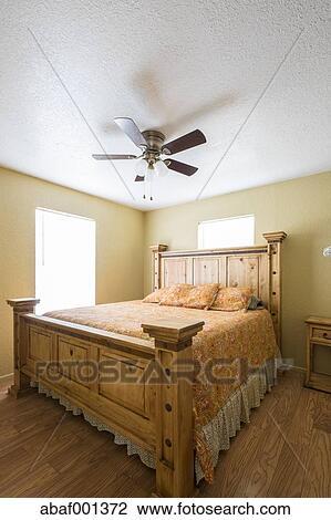 Stock Foto - usa, texas, rustiek, slaapkamer, binnenste, met ...