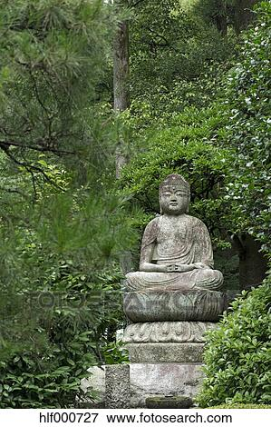 Picture of Japan, Kyoto, Buddha statue in the garden of Ryoan-ji ...