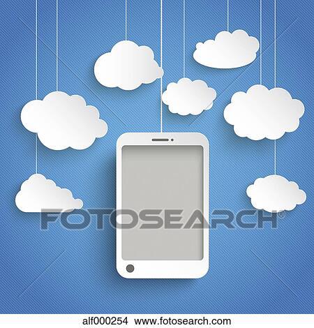 Vettore Illustrazione Far Male Telefono Con Nubi Bianche