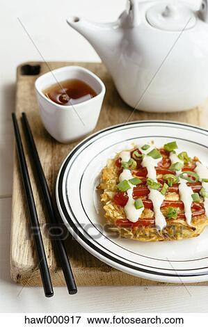 Billede Okonomiyaki Japansk Kål Pandekage Hawf000917 Søg I
