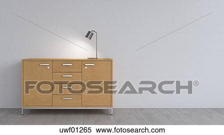 Brennender Lampe Auf Sideboard Stock Fotografie Uwf01265