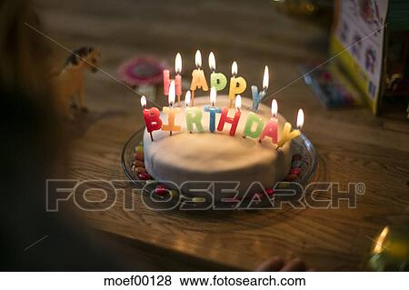 Wondrous Little Girls Birthday Cake Stock Photo Moef00128 Fotosearch Funny Birthday Cards Online Alyptdamsfinfo