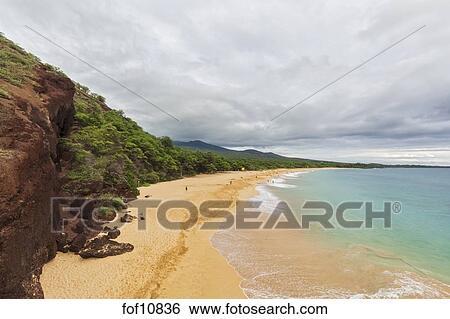 Big Beach Makena Beach State Park Maui Hawaii Usa Stock Photograph